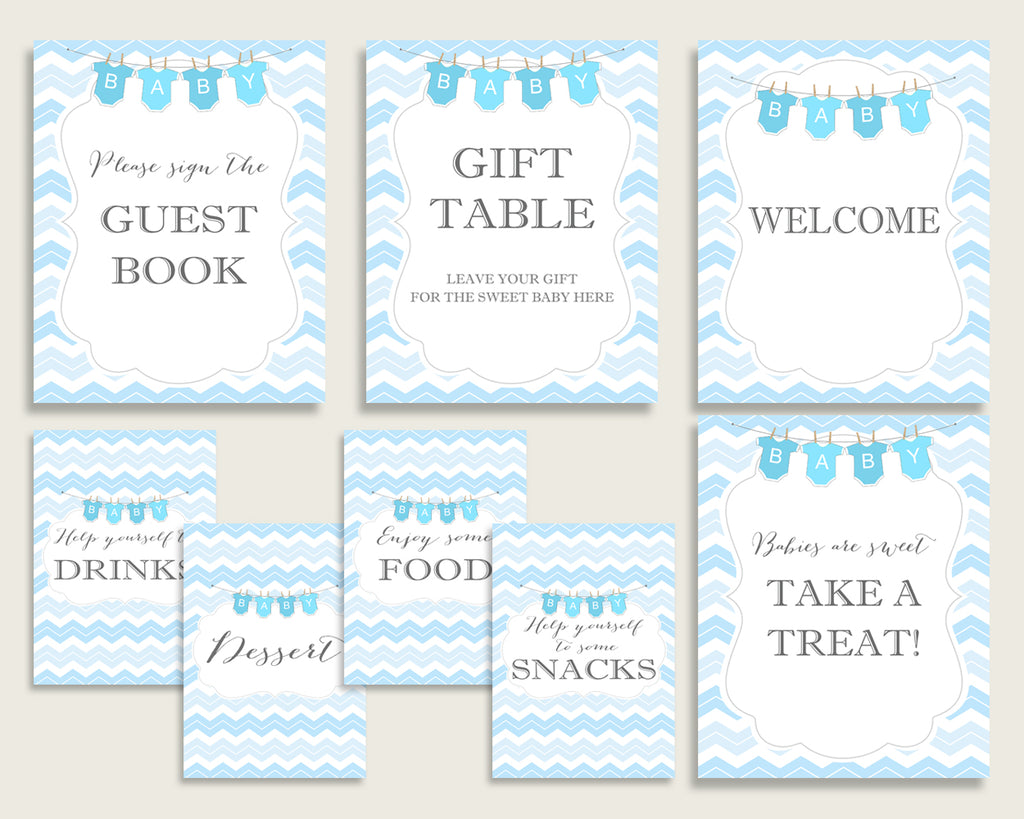 Chevron Baby Shower Boy Table Signs Printable, Blue White Party Table Decor, Favors, Food, Drink, Treat, Guest Book, Instant Download, cbl01