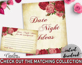 Date Night Ideas Bridal Shower Date Night Ideas Vintage Bridal Shower Date Night Ideas Bridal Shower Vintage Date Night Ideas Red Pink XBJK2 - Digital Product