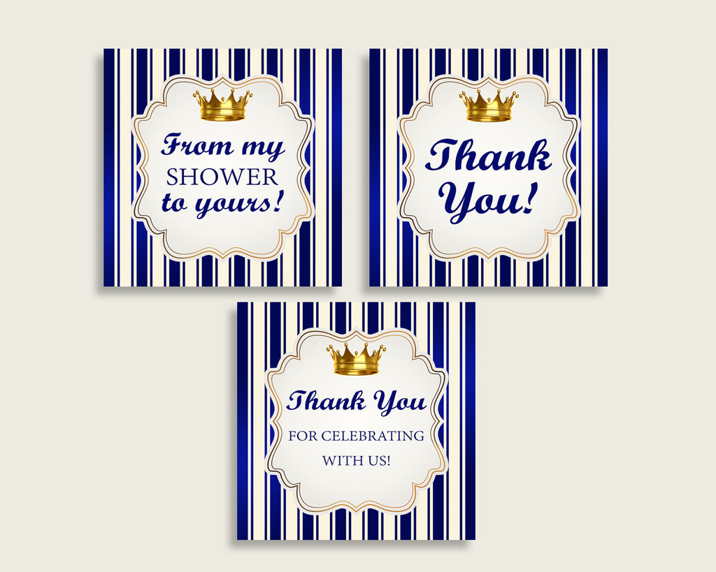 Royal Prince Baby Shower Square Thank You Tags 2 inch Printable, Blue Gold Boy Shower Gift Tags, Hang Tags Labels, Instant Download rp001