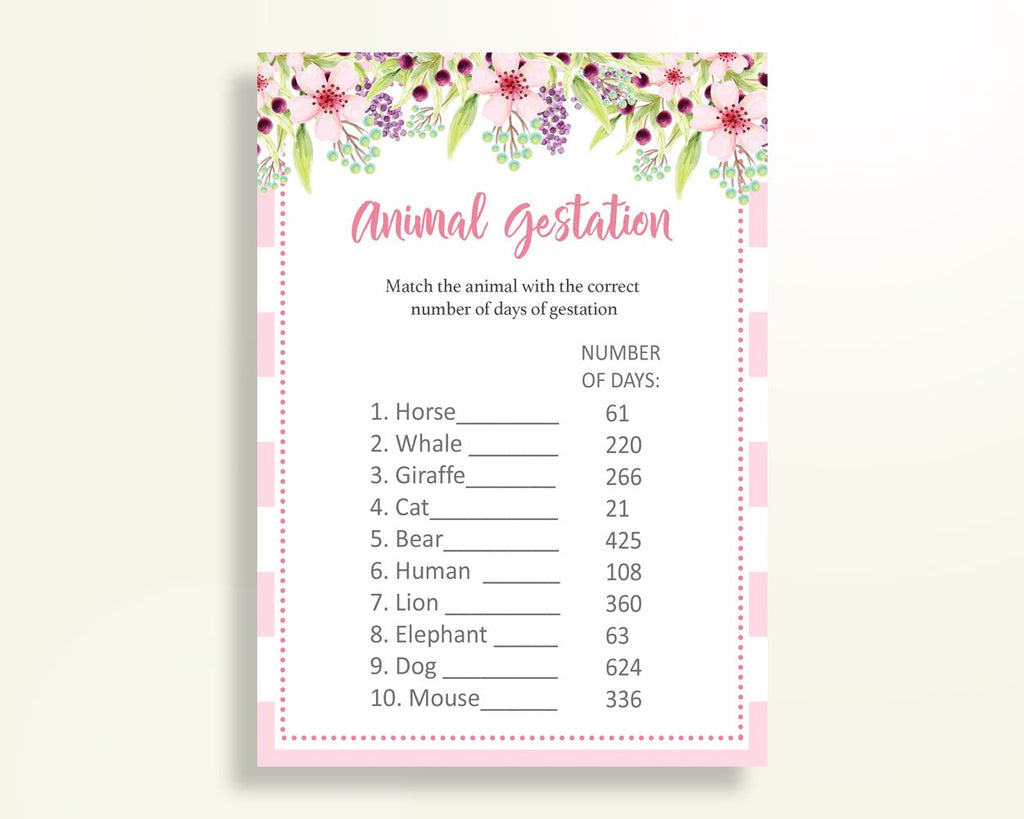 Animal Gestation Baby Shower Animal Gestation Pink Baby Shower Animal Gestation Baby Shower Flowers Animal Gestation Pink Green paper 5RQAG - Digital Product