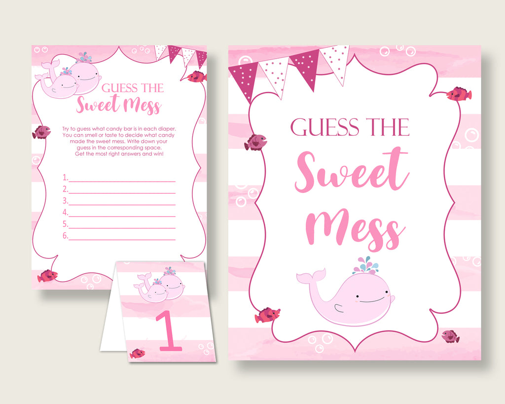 Pink Whale Guessing Game Baby Shower Girl, Pink White Guess The Sweet Mess Game Printable, Dirty Diaper Game, Instant Download, wbl02