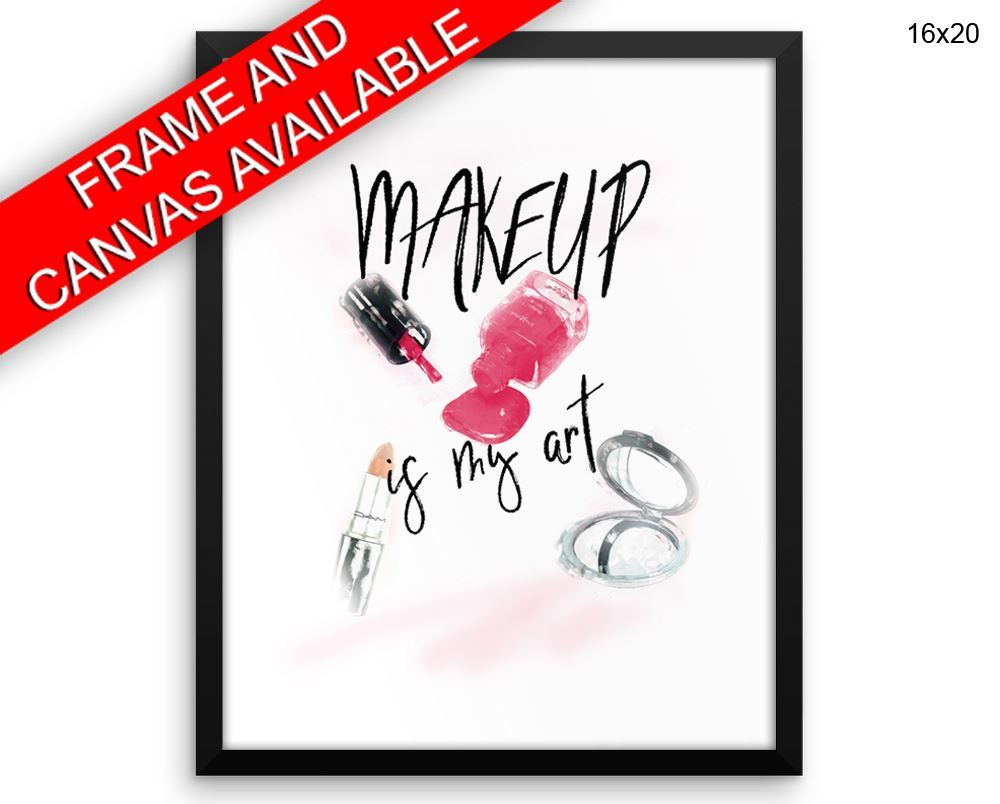Makeup Print, Beautiful Wall Art with Frame and Canvas options available Fashion Decor