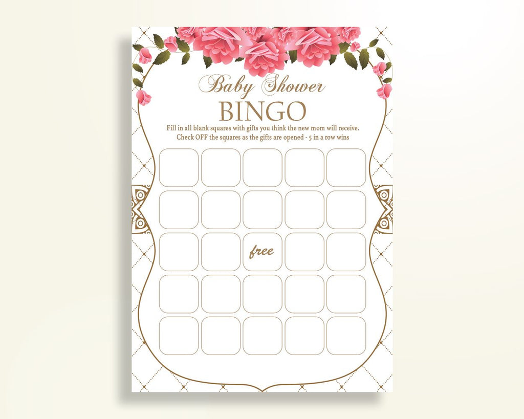 Empty Bingo Baby Shower Empty Bingo Roses Baby Shower Empty Bingo Baby Shower Roses Empty Bingo Pink White party plan party ideas U3FPX - Digital Product