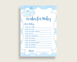 Blue White Wishes For Baby Cards & Sign, Whale Baby Shower Boy Well Wishes Game Printable, Instant Download, Watercolor Stripes Light wbl01