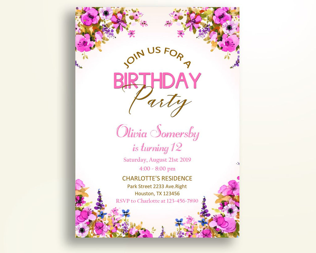 Floral Pink Birthday Invitation Floral Pink Birthday Party ...
