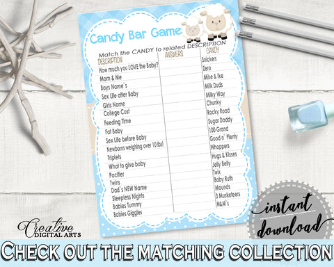photograph regarding Baby Shower Candy Bar Game Printable known as Very little Lamb Boy Boy or girl Shower Sweet BAR activity printable, blue boy shower, sheep shower video game, electronic documents, Jpg Pdf, immediate down load - fa001