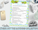 Baby Shower NURSERY RHYME QUIZ game with green alligator and blue color theme, instant download - ap002