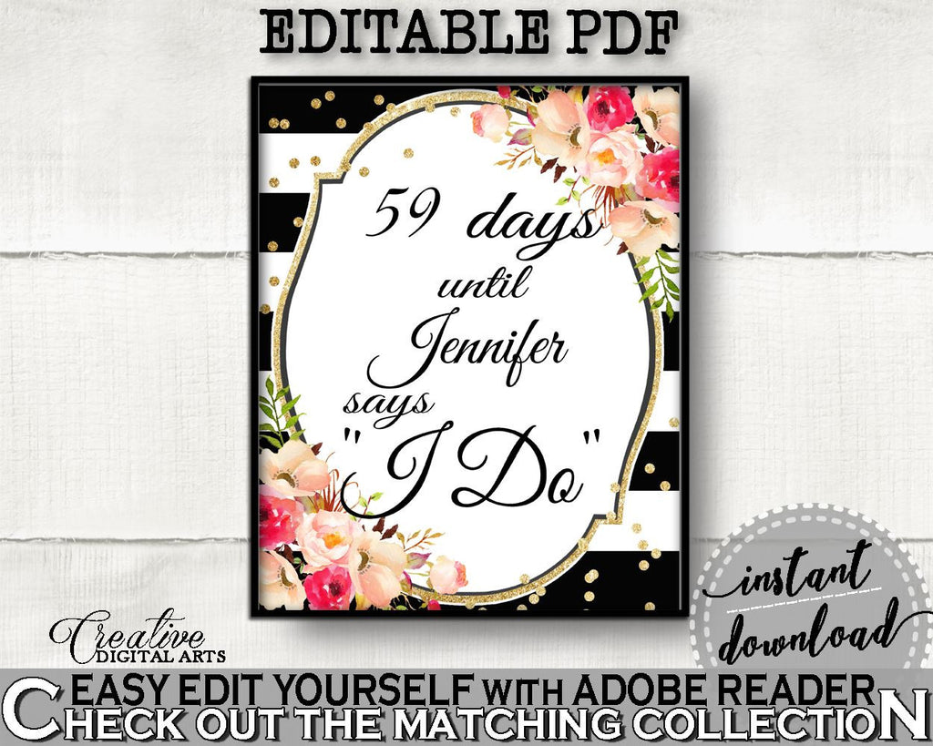 Black And Gold Flower Bouquet Black Stripes Bridal Shower Theme: Days Until I Do - wedding countdown, party supplies, party décor - QMK20 - Digital Product