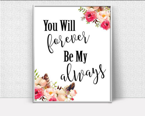 Wall Decor Always Printable Forever Prints Always Sign Forever  Printable Art Always wedding poster wedding art print wedding quote - Digital Download