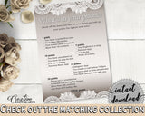 Brown And Silver Traditional Lace Bridal Shower Theme: What's In Your Phone Game - bridal phone games, classy shower, party theme - Z2DRE - Digital Product