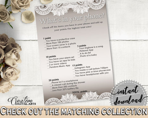 brown and silver traditional lace bridal shower theme whats in your phone game bridal