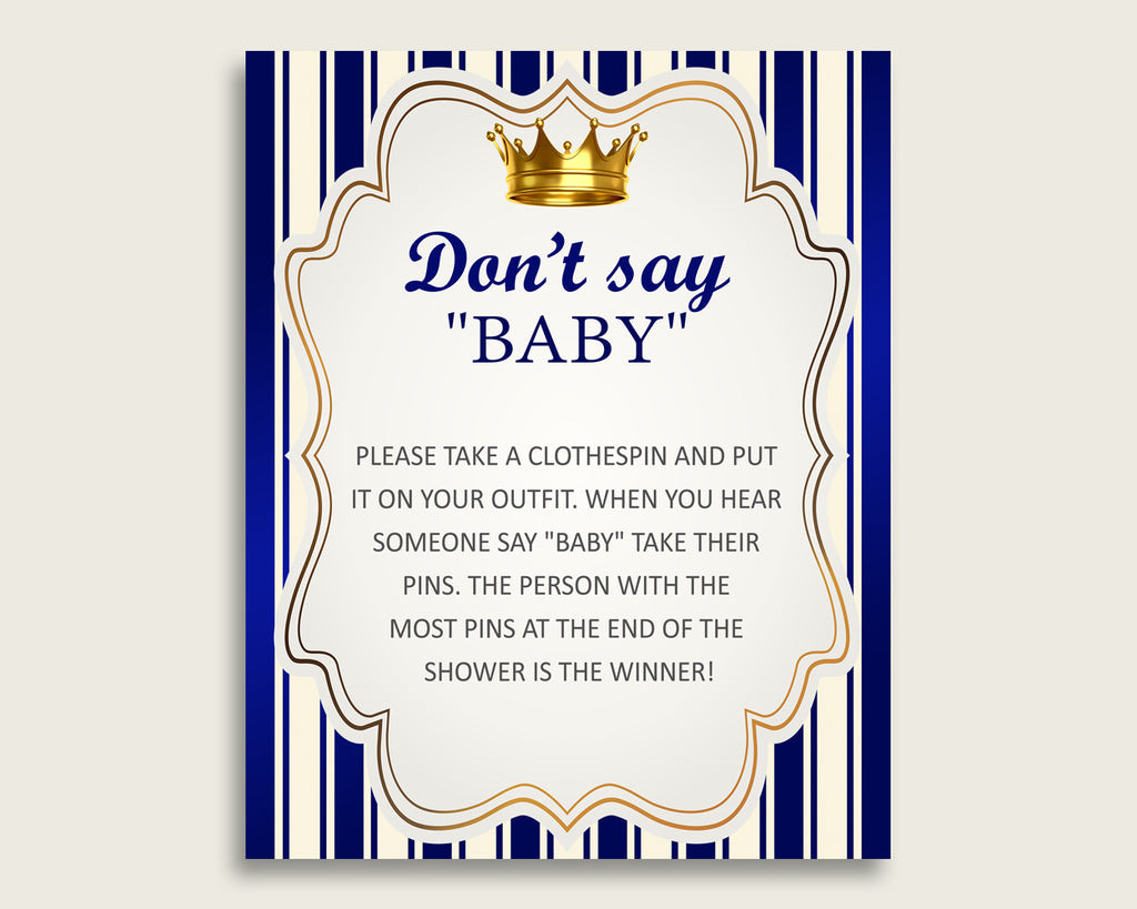 Blue Gold Don't Say Baby Printable Game, Boy Baby Shower Royal Prince Game Sign, Instant Download, 8x10, Prince Theme Navy Royal Blue rp001