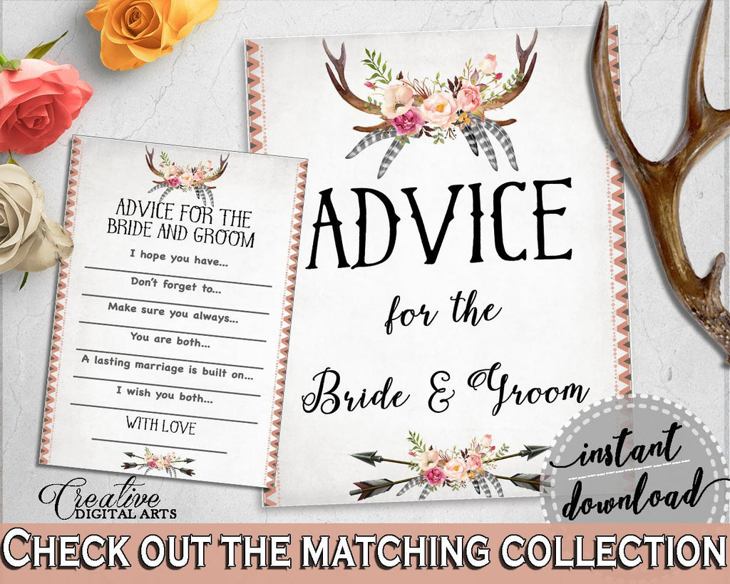 Antlers Flowers Bohemian Bridal Shower Advice For The Bride And Groom in Gray and Pink, newlyweds advice, pdf jpg, printables - MVR4R - Digital Product
