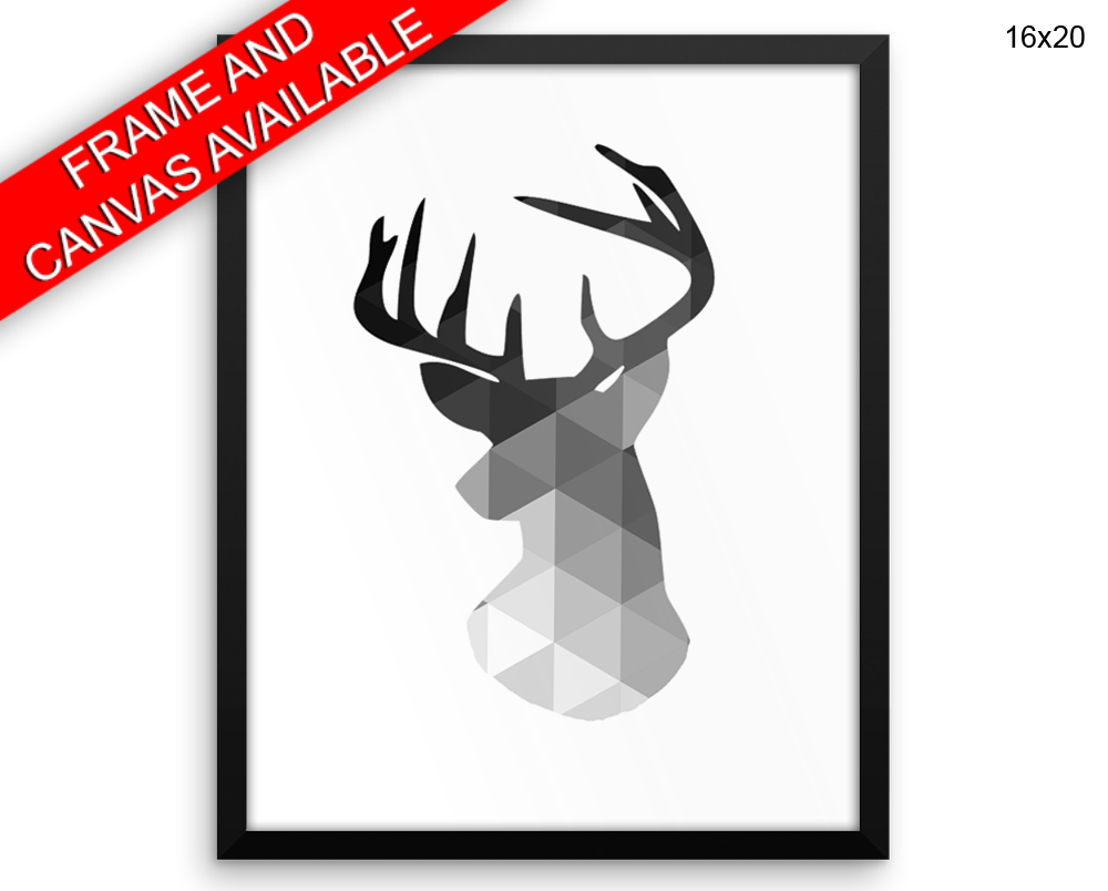 Deer Print, Beautiful Wall Art with Frame and Canvas options available Geometric Decor