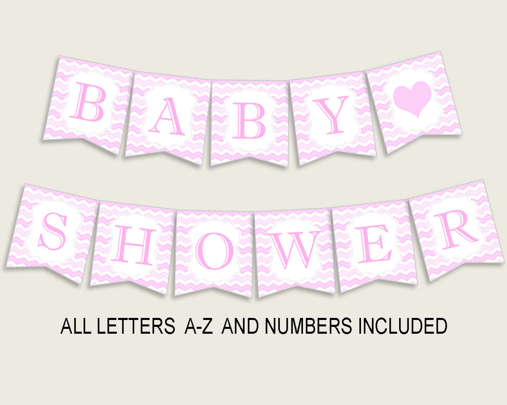 Chevron Baby Shower Banner All Letters, Birthday Party Banner Printable A-Z, Pink White Banner Decoration Letters Girl, Light Pink cp001