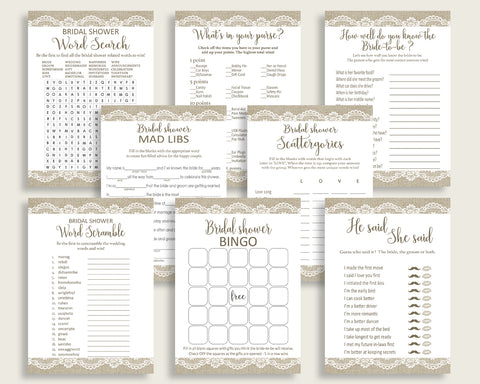 Games Bridal Shower Games Burlap And Lace Bridal Shower Games Bridal Shower Burlap And Lace Games Brown White party décor prints NR0BX