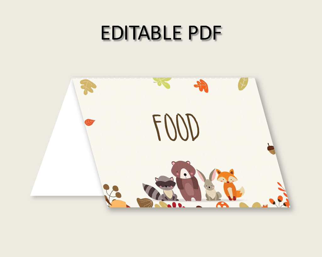 Woodland Folded Food Tent Cards Printable, Brown Beige Editable Pdf Buffet Labels, Gender Neutral Baby Shower Food Place Cards w0001