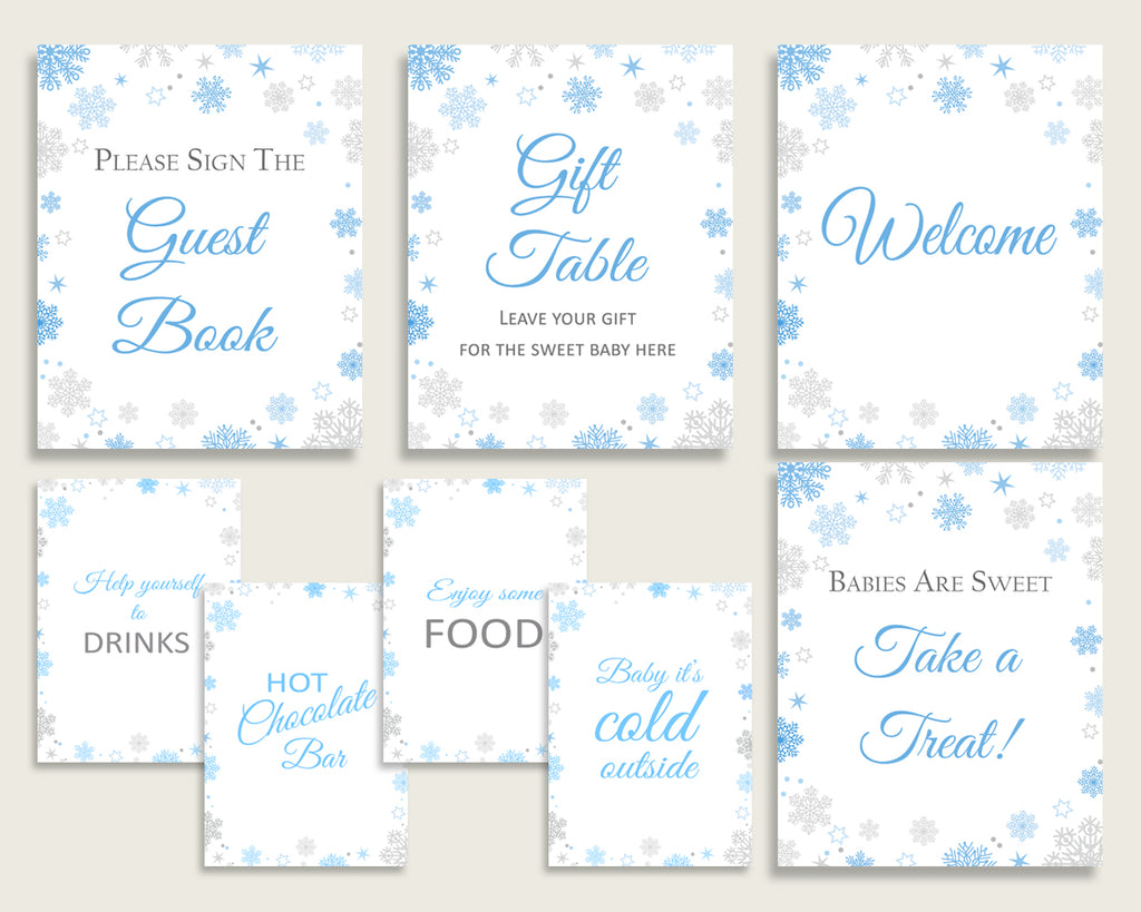 Table Signs Baby Shower Table Signs Snowflake Baby Shower Table Signs Blue Gray Baby Shower Snowflake Table Signs paper supplies NL77H