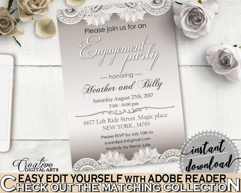 Brown And Silver Traditional Lace Bridal Shower Theme: Engagement Party Invitation Editable - inexpensive shower, party planning - Z2DRE - Digital Product