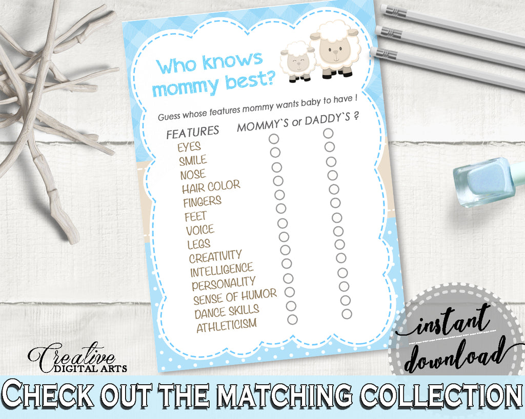 Little Lamb Blue Baby Shower Who KNOWS MOMMY BEST game, sheep boy shower theme printable, digital files Jpg Pdf, instant download - fa001
