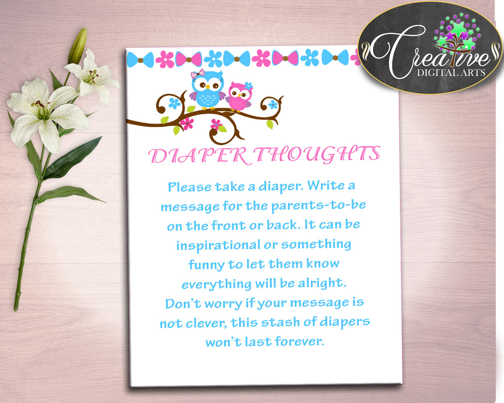 Diaper Thoughts Baby Shower Diaper Thoughts Owl Baby Shower Diaper Thoughts Baby Shower Owl Diaper Thoughts Pink Blue party plan owt01