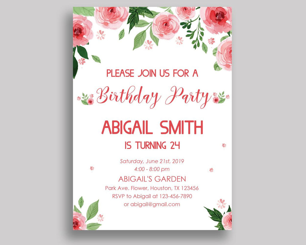 Watercolor Flowers Birthday Invitation Watercolor Flowers Birthday Party Invitation Watercolor Flowers Birthday Party Watercolor SLEPQ - Digital Product