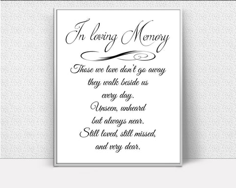 Wall Art Remembering Digital Print Memorial Poster Art Remembering Wall Art Print Memorial  Wall Decor Remembering Those We love Quote - Digital Download
