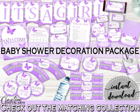 Decorations Baby Shower Decorations Butterfly Baby Shower Decorations Baby Shower Butterfly Decorations Purple Pink digital print 7AANK - Digital Product