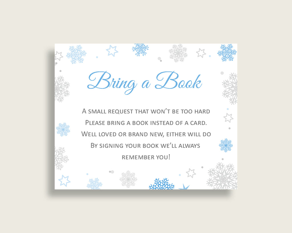 Bring A Book Baby Shower Bring A Book Snowflake Baby Shower Bring A Book Blue Gray Baby Shower Snowflake Bring A Book party theme NL77H