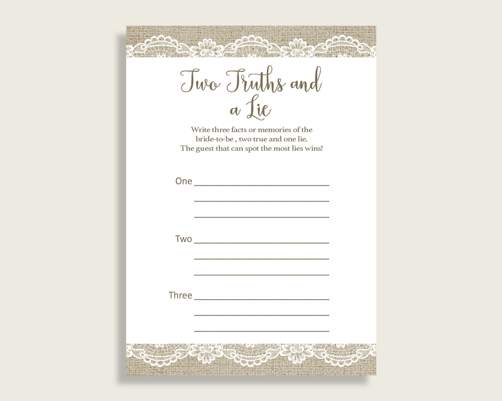 Two Truths And A Lie Bridal Shower Two Truths And A Lie Burlap And Lace Bridal Shower Two Truths And A Lie Bridal Shower Burlap And NR0BX