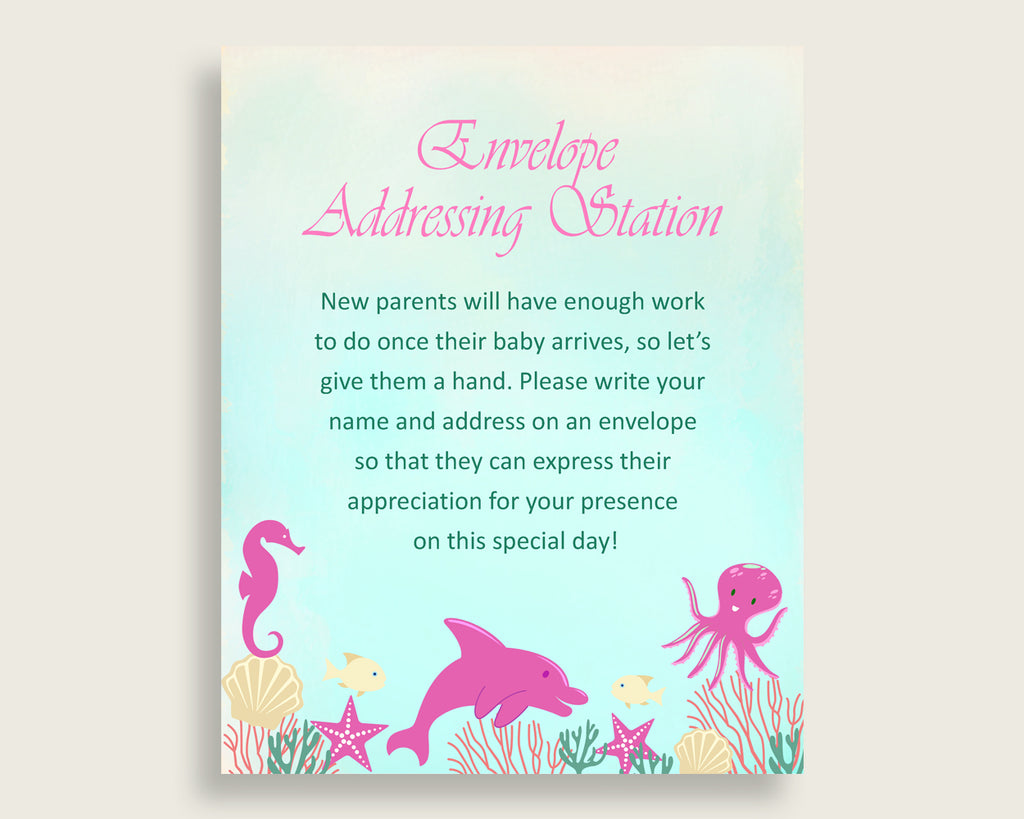 Pink Green Baby Shower Address Sign Printable, Under The Sea Envelope Station Sign, Envelope Addressing Baby Shower Girl, Popular uts01