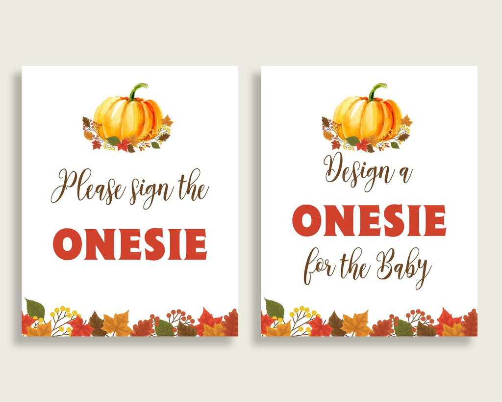 Sign The Onesie Baby Shower Design A Onesie Fall.Pumpkin Baby Shower Sign The Onesie Baby Shower Fall.Pumpkin Design A Onesie Orange BPK3D - Digital Product