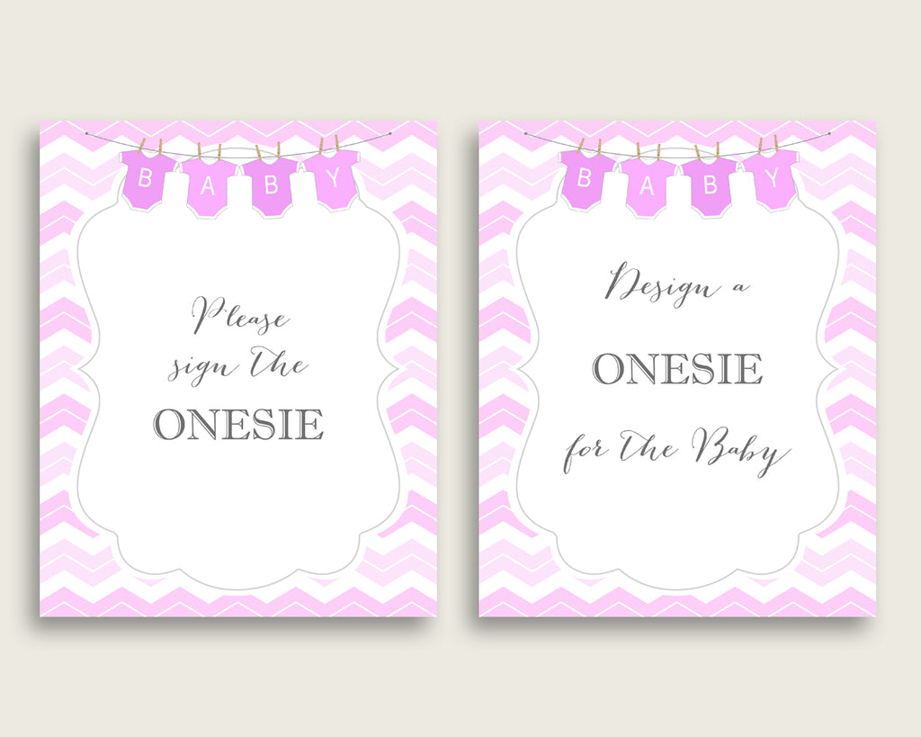 Pink White Please Sign The Onesie Sign and Design A Onesie Sign Printables, Chevron Girl Baby Shower Decor, Instant Download, Popular cp001