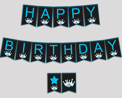 Bowling Birthday Banner Bowling Birthday Party Banner Black Blue Happy Birthday Banner Boy 5DVSP