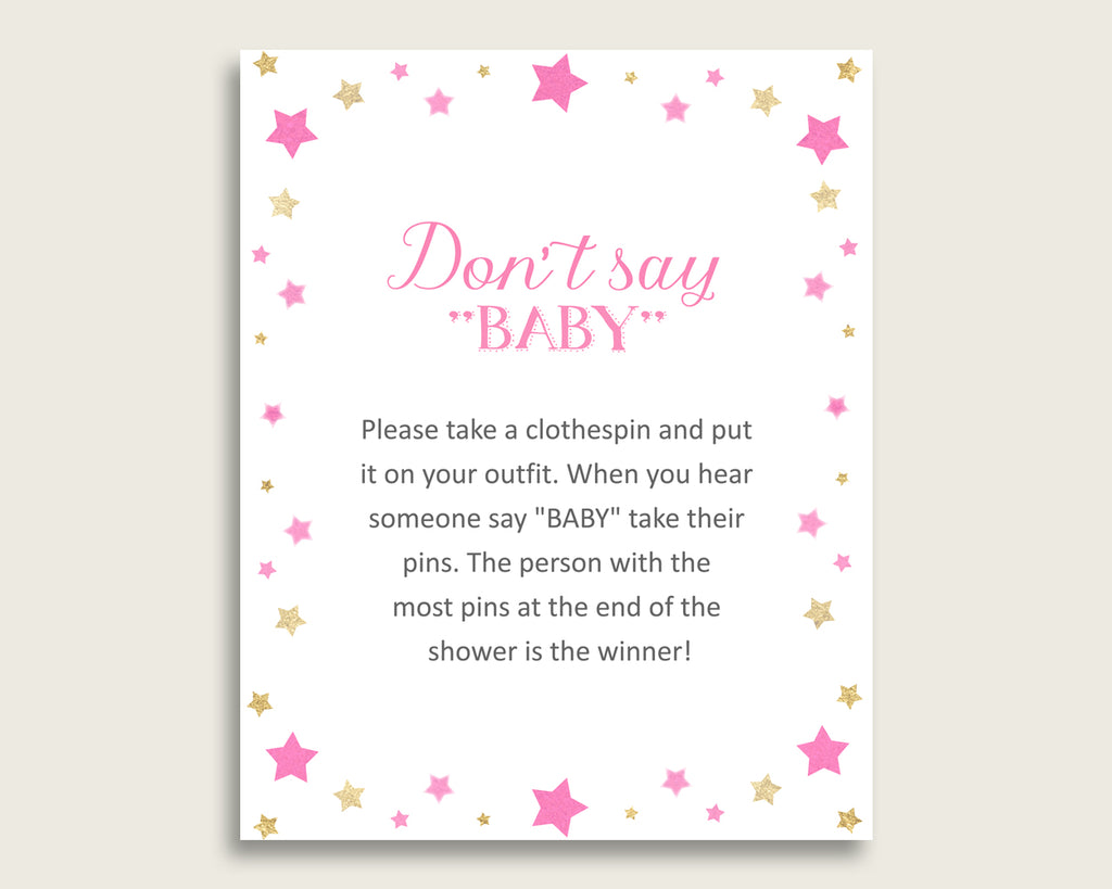 Pink Gold Don't Say Baby Printable Game, Girl Baby Shower Twinkle Star Game Sign, Instant Download, 8x10, Most Popular Cute Stars bsg01