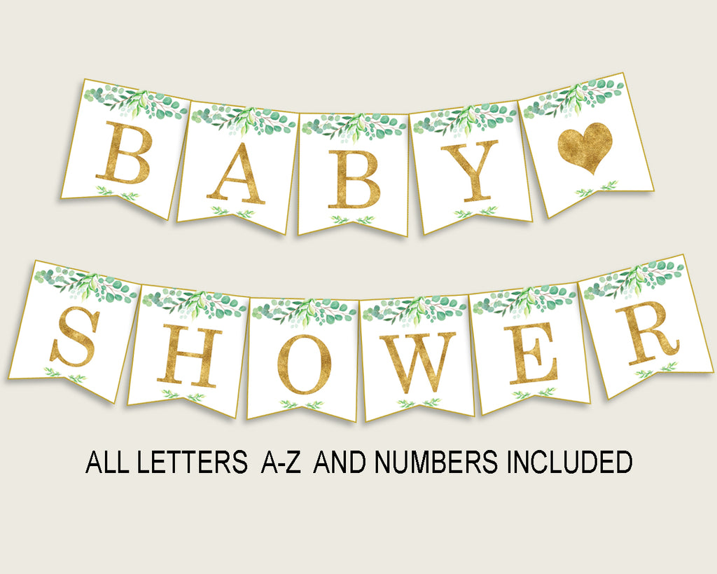 Greenery Baby Shower Banner All Letters, Birthday Party Banner Printable A-Z, Green Gold Banner Decoration Letters Gender Neutral, Y8X33