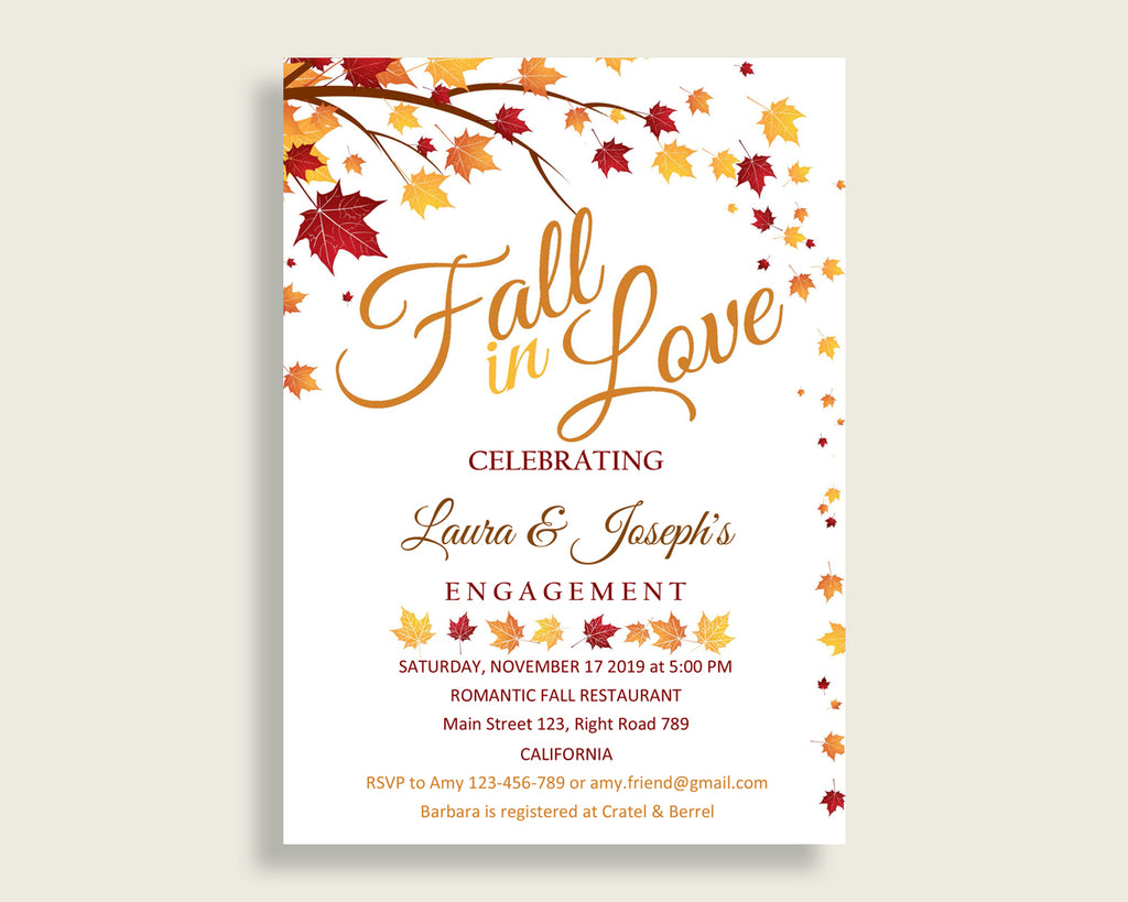 Invitation Bridal Shower Invitation Fall Bridal Shower Invitation Bridal Shower Autumn Invitation Brown Yellow party theme prints YCZ2S
