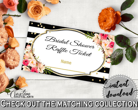 Flower Bouquet Black Stripes Bridal Shower Raffle Ticket in Black And Gold, insert ticket blank, classy bride, party décor, prints - QMK20 - Digital Product