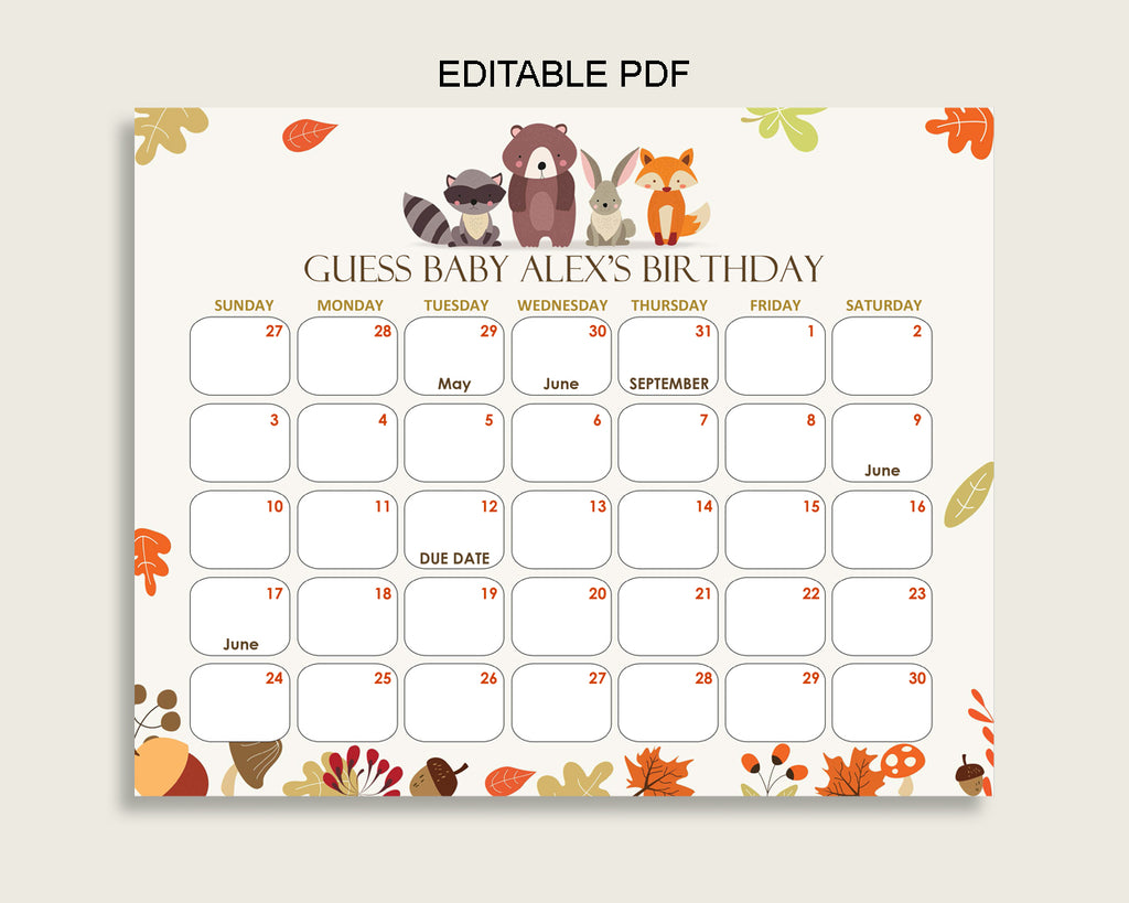 Brown Beige Guess Baby Due Date Calendar Game Printable, Woodland Baby Shower Gender Neutral Birthday Prediction Calendar Editable w0001