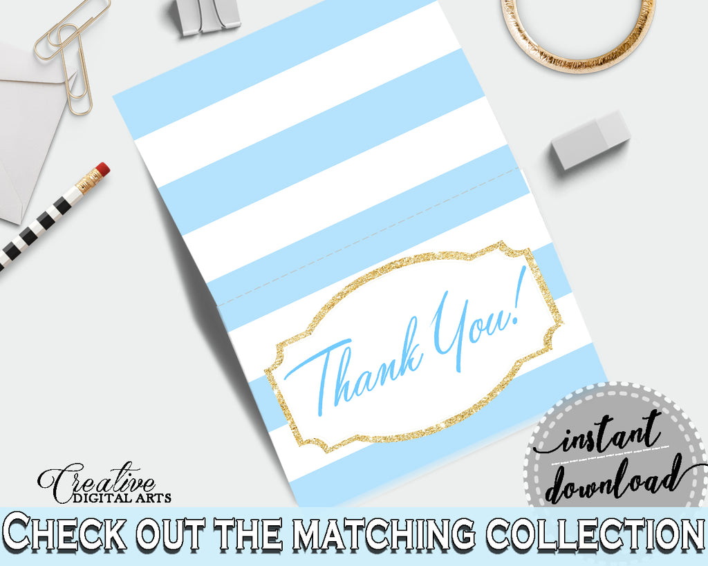 Baby shower printable THANK YOU card with blue and white stripes for boys, digital jpg pdf, instant download - bs002