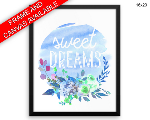 Sweet Dreams Print, Beautiful Wall Art with Frame and Canvas options available Nursery Decor