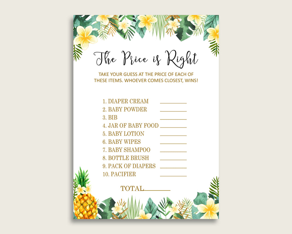 Green Yellow The Price Is Right Game, Tropical Baby Shower Gender Neutral Activity, Guess The Price Game Printable, Instant Download, 4N0VK