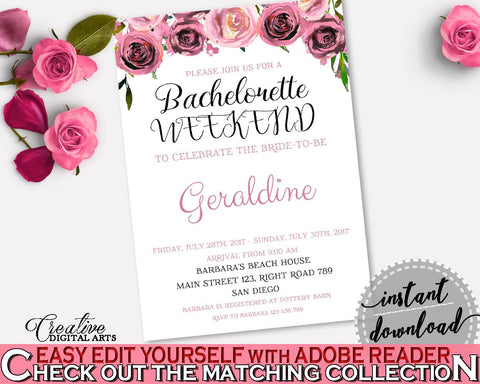 Bachelorette Weekend Invitation Bridal Shower Bachelorette Weekend Invitation Floral Bridal Shower Bachelorette Weekend Invitation BQ24C - Digital Product