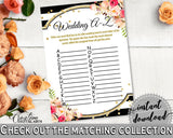 Black And Gold Flower Bouquet Black Stripes Bridal Shower Theme: Wedding A-Z Game - grammar activity, party stuff, party decor - QMK20 - Digital Product