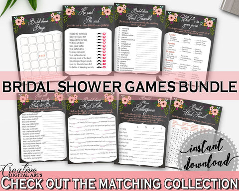 Games Bundle in Chalkboard Flowers Bridal Shower Black And Pink Theme, mad libs, chalk flowers shower, party stuff, party decor - RBZRX - Digital Product