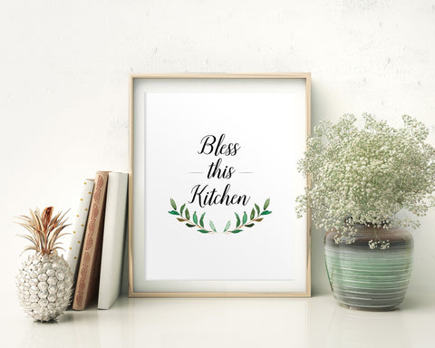 Wall Decor Bless Printable Bless Prints Bless Sign Bless Kitchen Art Bless Kitchen Print Bless Printable Art Bless Floral Quote Bless - Digital Download