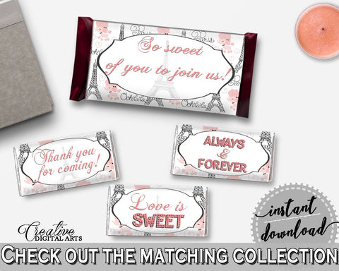 Hershey Mini And Standard Wrappers in Paris Bridal Shower Pink And Gray Theme, chocolate decor, poodle bridal shower, digital print - NJAL9 - Digital Product