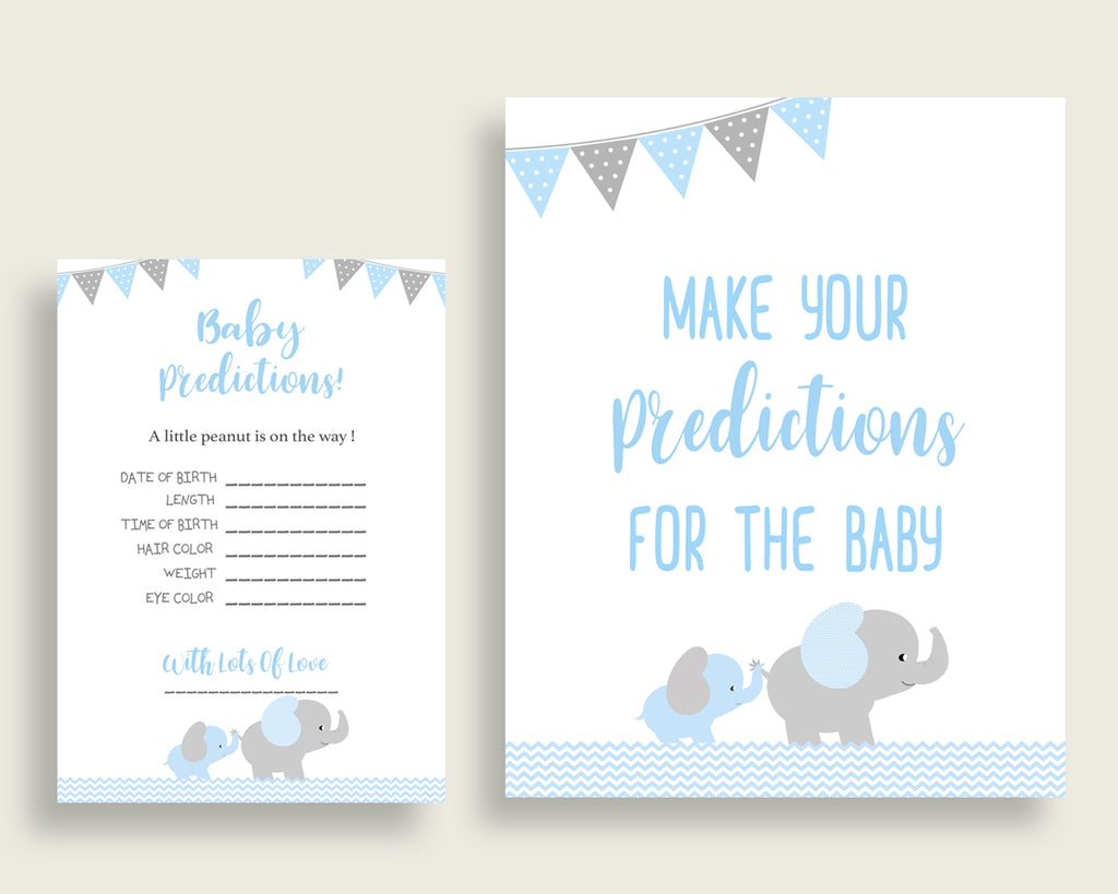 Elephant Baby Shower Prediction Cards & Sign Printable, Blue Grey Baby Prediction Game Boy, Instant Download, Little Peanut Chevron ebl02