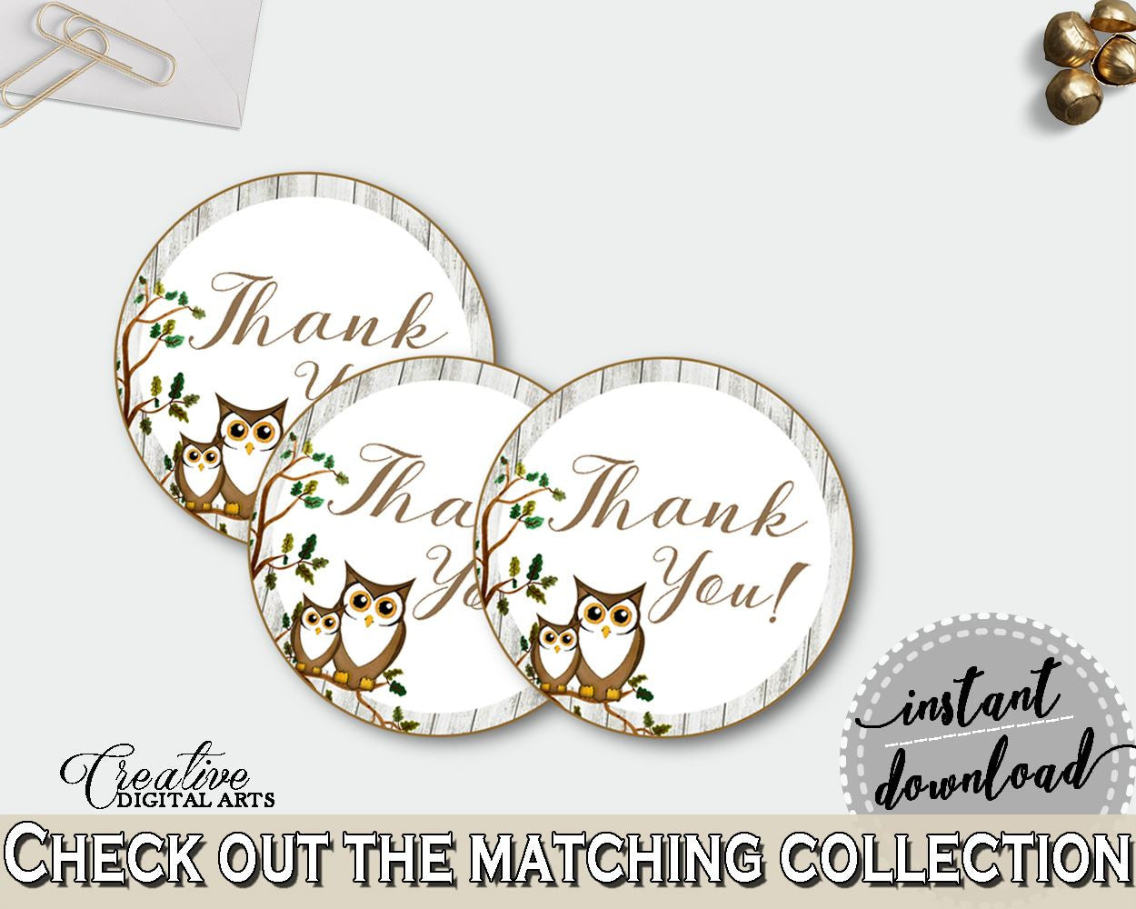Round Tags Baby Shower Round Tags Owl Baby Shower Round Tags Baby Shower Owl Round Tags Gray Brown party décor - 9PUAC - Digital Product