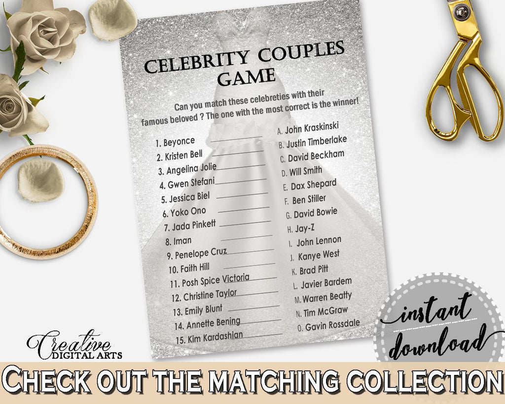silver and white silver wedding dress bridal shower theme celebrity couples game matching name